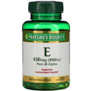 Nature's Bounty, витамин E, чистый Dl-альфа, 450 мг (1000 МЕ), 60 капсул с быстрым высвобождением