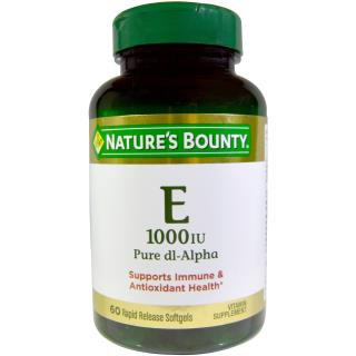 Nature's Bounty, Vitamin E, Pure Dl-Alpha, 1000 IU, 60 Rapid Release Softgels