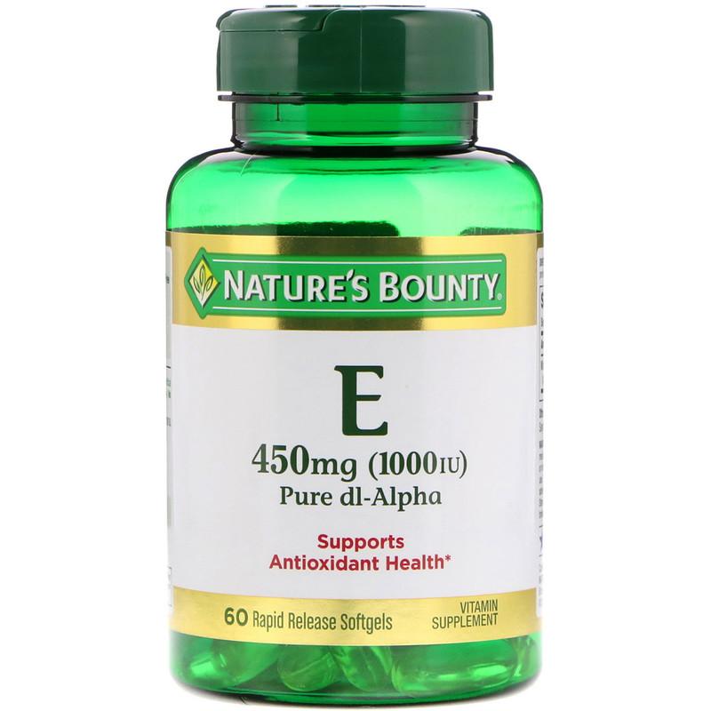 Vitamin E, Pure Dl-Alpha, 450 mg (1,000 IU), 60 Rapid Release Softgels