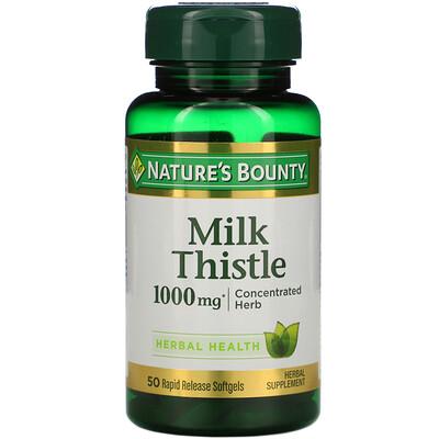 Купить Nature's Bounty Расторопша, 1000 мг, 50 мягких желатиновых капсул с быстрым высвобождением действующего вещества