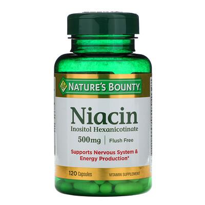 Natures Bounty Ниацин, не вызывающий покраснения, 500 мг, 120 капсул