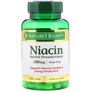 Nature's Bounty, Flush Free Niacin, 500 mg, 120 Capsules