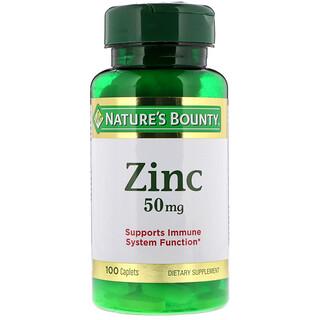 Nature's Bounty, Zinc, 50 mg, 100 Caplets