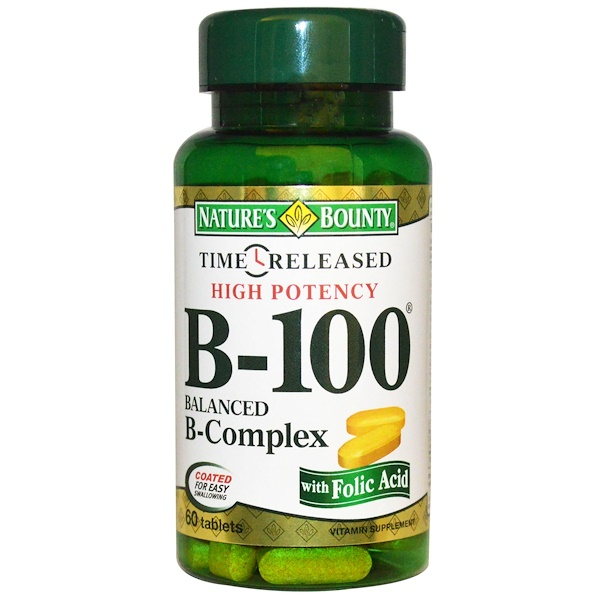 Nature's Bounty, B-100, High Potency, 60 Tablets (Discontinued Item)
