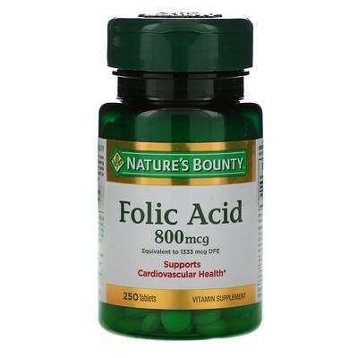 Купить Nature's Bounty Folic Acid, 800 mcg, 250 Tablets
