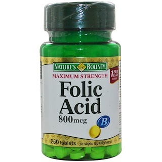 Nature's Bounty, Folic Acid, Maximum Strength, 800 mcg, 250 Tablets