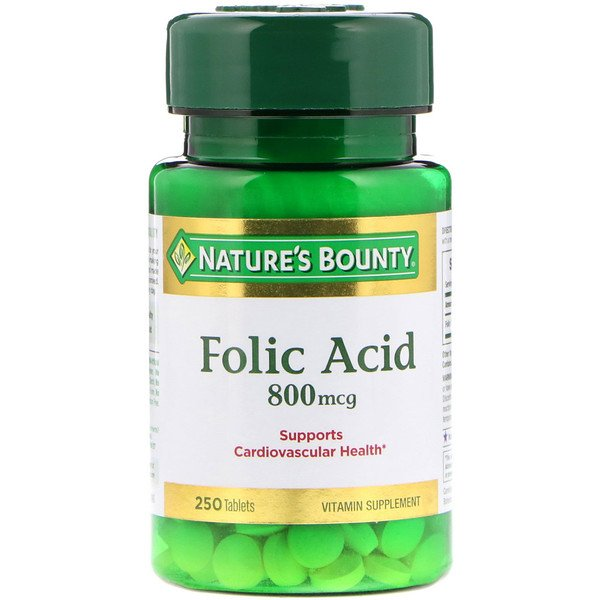 Nature's Bounty, Folic Acid, 800 mcg, 250 Tablets