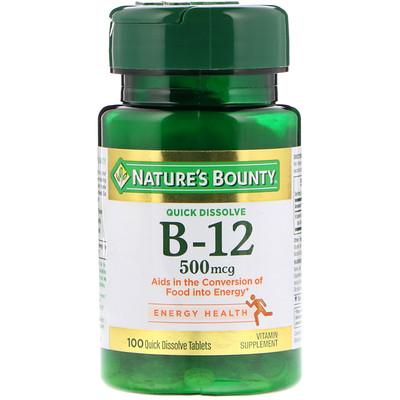 Nature's Bounty B-12,舌下,天然櫻桃風味,500微克,100微錠
