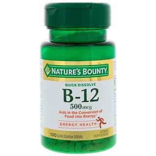 Nature's Bounty, B-12, Natural Cherry Flavor, 500 mcg, 100 Quick Dissolve Tablets