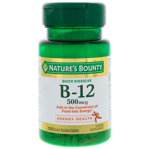 Nature's Bounty, B-12, Natural Cherry Flavor, 500 mcg, 100 Quick Dissolve Tablets
