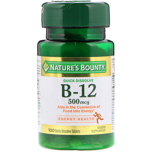 Nature's Bounty, B-12, Natural Cherry Flavor, 500 mcg, 100 Quick Dissolve Tablets (Discontinued Item)