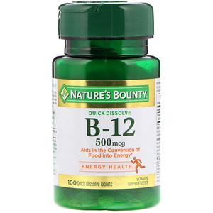 Натурес Баунти, B-12, Natural Cherry Flavor, 500 mcg, 100 Quick Dissolve Tablets отзывы