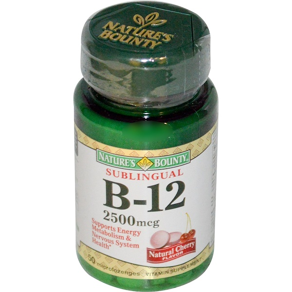 Nature's Bounty, B-12, Sublingual, Natural Cherry Flavor, 2500 mcg, 50 Microlozenges (Discontinued Item)