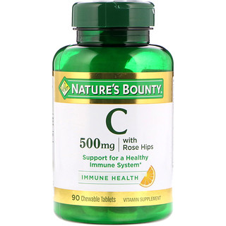 Nature's Bounty, Vitamin C with Rose Hips, Natural Orange Flavor, 500 mg, 90 Chewable Tablets