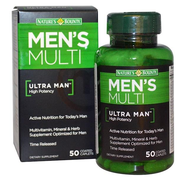 Nature's Bounty, Мультивитамины для мужчин, Ultra Man, высокая эффективность, 50 каплет, покрытых оболочкой (Discontinued Item)