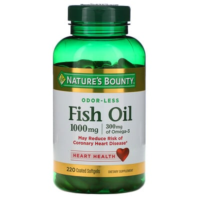 Купить Nature's Bounty Рыбий жир, 1000 мг, 220 мягких капсул в оболочке