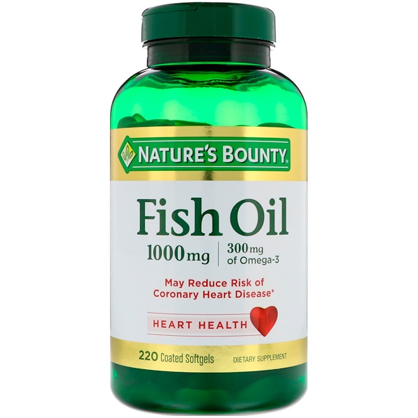 Fish Oil, 1,000 mg, 220 Coated Softgels