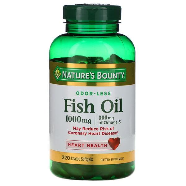 Nature's Bounty, Рыбий жир, 1000 мг, 220 мягких капсул в оболочке