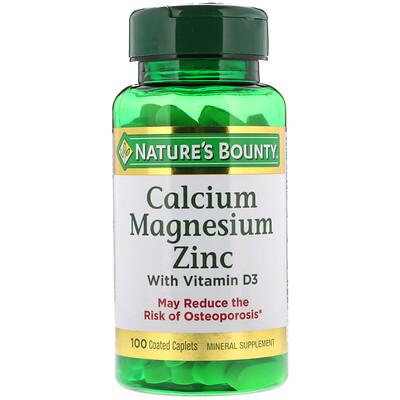 Кальций, магний и цинк с витаминомD3, 100капсуловидных таблеток в оболочке