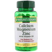 Кальций, магний, цинк и витамин D3, 100 каплетов с покрытием - фото