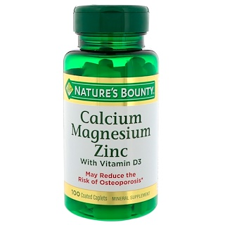 Nature's Bounty, Calcium Magnesium Zinc with Vitamin D3, 100 Coated Caplets