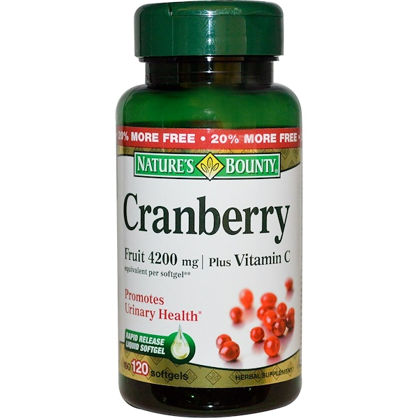 Nature's Bounty, Cranberry, Plus Vitamin C, 4200 mg, 120 Softgels (Discontinued Item)