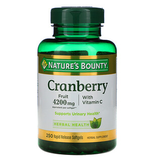 Nature's Bounty, ビタミンC配合クランベリー、速放性ソフトジェル250粒