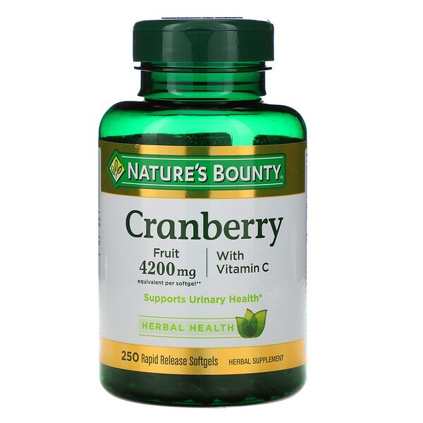 Nature's Bounty, Cranberry with Vitamin C, 250 Rapid Release Softgels