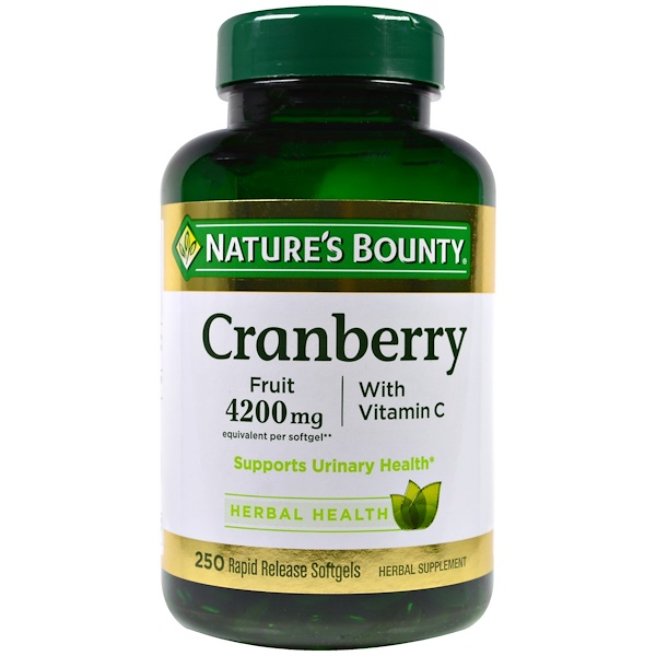 Nature's Bounty, Cranberry, With Vitamin C, 250 Rapid Release Softgels
