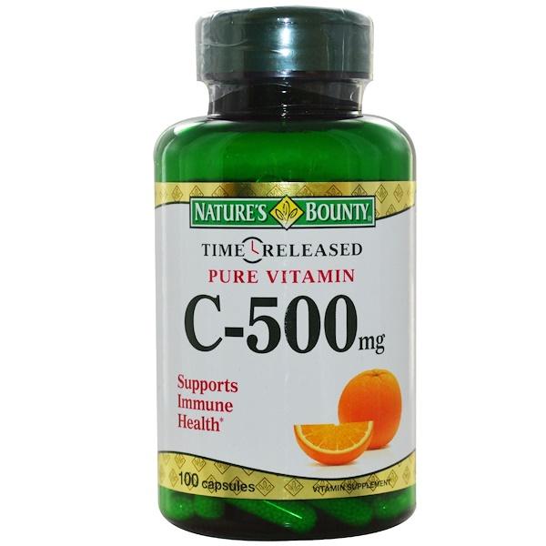 Nature's Bounty, Чистый витамин С с отсроченным высвобождением, 500 мг, 100 капсул