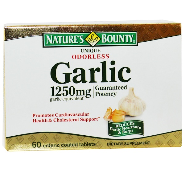 Nature's Bounty, Unique Odorless Garlic, 1250 mg, 60 Enteric Coated Tablets (Discontinued Item)