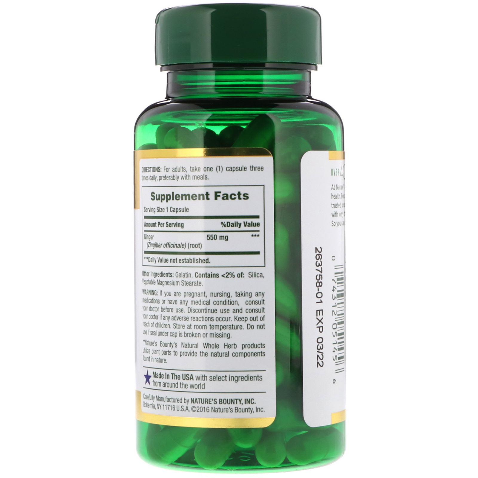 Nature's Bounty, Корень имбиря, 500 мг, 100 капсул