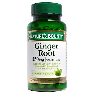 Nature's Bounty, Ginger Root, 550 mg, 100 Capsules