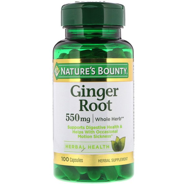 Nature's Bounty, Ginger Root, 550 mg, 100 Capsules