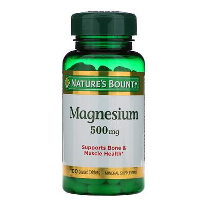 Купить Nature's Bounty Магний, 500 мг, 100 таблеток, покрытых оболочкой