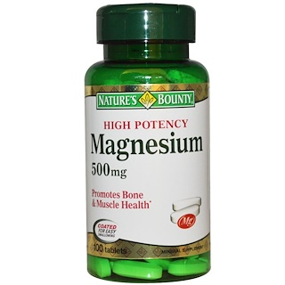 Nature's Bounty, Magnesium, High Potency, 500 mg, 100 Coated Tablets