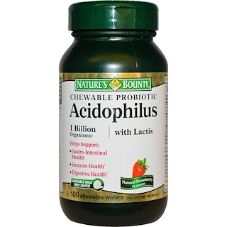 Nature's Bounty, Chewable Probiotic Acidophilus with Lactis, Natural Strawberry Flavor, 100 Chewable Wafers