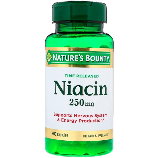 Nature's Bounty, Time Released Niacin, 250 mg, 90 Capsules