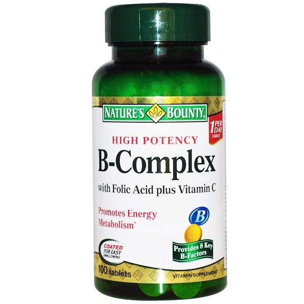 Nature's Bounty, B-Complex with Folic Acid Plus Vitamin C, 100 Tablets (Discontinued Item)
