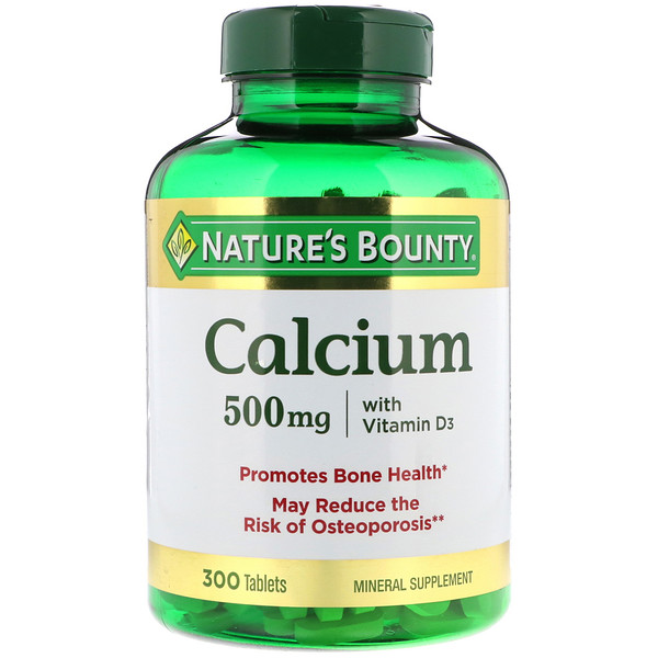 Nature's Bounty, Cálcio com Vitamina D, 500 mg, 300 Cápsulas