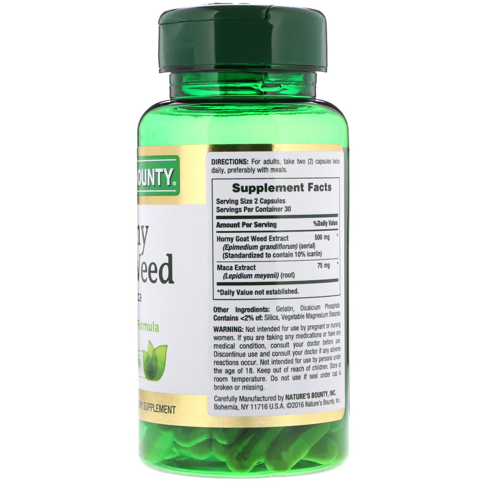 Nature S Bounty Horny Goat Weed With Maca 60 Capsules Iherb Com