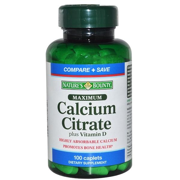 Nature's Bounty, Maximum, кальция цитрат, с витамином  D, 100 капсуловидных таблеток (Discontinued Item)