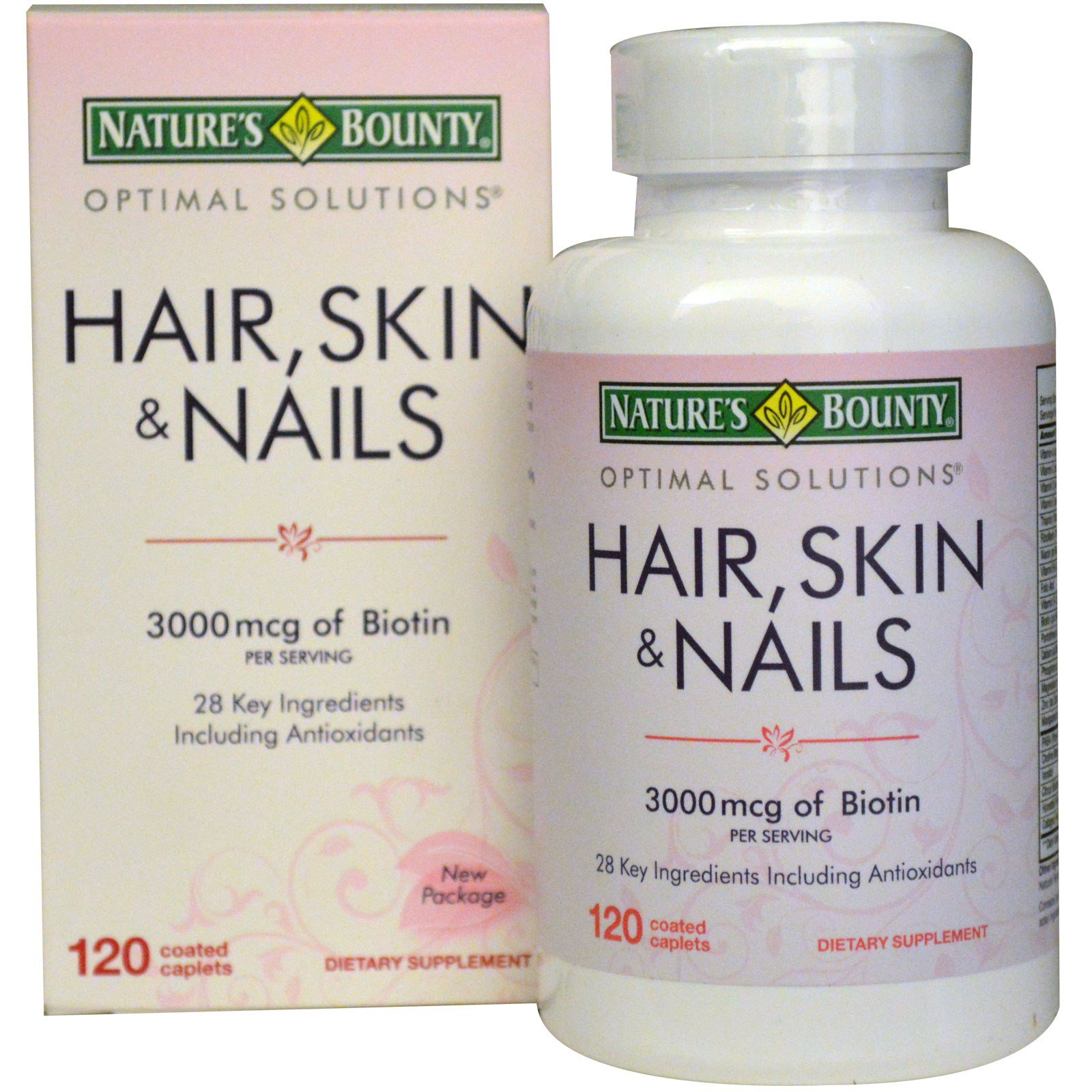 Nature\'s Bounty, Hair, Skin & Nails, 3000 mcg, 120 Coated Caplets ...