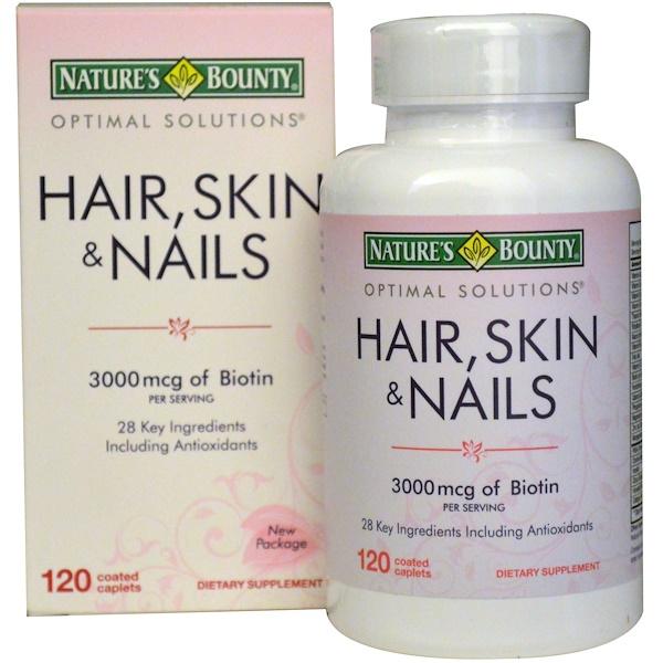 Nature's Bounty, Комплекс для улучшения состояния волос, кожи и ногтей, 3000 мкг, 120 таблеток, покрытых оболочкой (Discontinued Item)