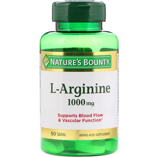 Nature's Bounty, L-Arginina, 1000 mg, 50 Cápsulas