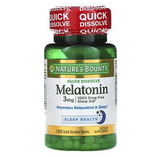 Nature's Bounty, Melatonin, Natural Cherry Flavor, 3 mg, 120 Quick Dissolve Tablets