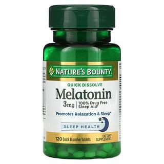 Nature's Bounty, Melatonin, Natural Cherry, 3 mg, 120 Quick Dissolve Tablets