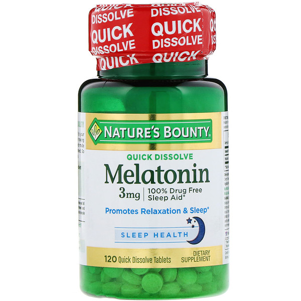 Nature's Bounty, Melatonin, Natural Cherry Flavor, 3 mg, 120 Quick Dissolve Tablets
