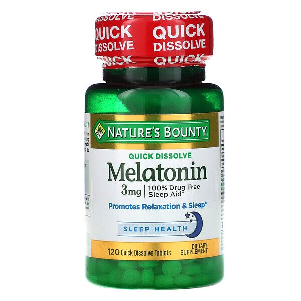 Melatonin, Natural Cherry Flavor, 3 mg, 120 Quick Dissolve Tablets