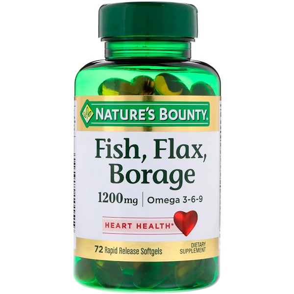 Nature's Bounty, Fish, Flax, Borage, 1,200 mg, 72 Rapid Release Softgels